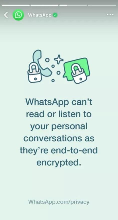 WhatsApp está usando mensagens de Status para dizer que não está espionando