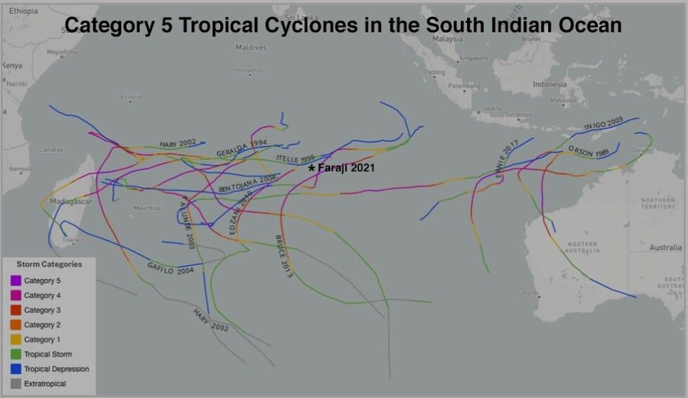 Ciclone tropical Faraji é a primeira tempestade de categoria 5 de 2021